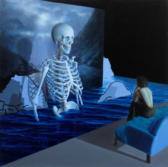 Moonlight installation art watching a skeleton in water. painting by Kristoffer Zetterstrand